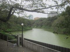 千鳥ヶ淵沿いを歩いて行きます 天気と同様にお濠の池もどんより 桜の時期はもっと水きれいだったような気がするけど・・・