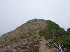 雨が降り始めてしまったのでレインウェアを着て常念岳方面に向かい、その途中で東天井岳に登頂。日本百高山の91座目。ここも縦走路が山腹を巻いているので山頂を通りませんが、山頂までの踏み跡は明瞭でした。