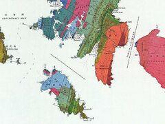 金華山の地質図です。 金華山:主に花崗岩。 鮎川、長渡地区:鮎川層(ジュラ紀・白亜紀の堆積層) 十八浜、網地地区:荻浜層(ジュラ紀後期の堆積層) 田代島:鮎川層(ジュラ紀・白亜紀の堆積層)