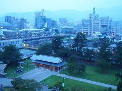 甲府城跡から眺める夕暮れの甲府駅…