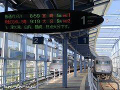 休日は、宮崎空港からシャトルバスが運行されているのですが、現在運休中。JR&路線バスを乗り継いで、ホテルへ向かいます。 特急列車かと思いましたが、普通列車、そして宮崎駅まで、まさかの車内貸切状態。