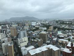で、函館といえば、ということで久しぶりに五稜郭タワーから五稜郭を見下ろすことにしました。五稜郭タワーくらいならこの天気でも見えない、ということはありません。 函館山方面。