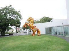 司 バラ焼き大衆食堂からクルマで1.2分のところにある 「十和田市現代美術館」へ!  フラワーホースが出迎えてくれます。