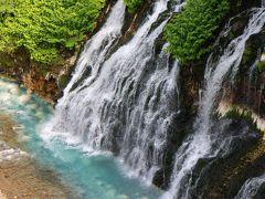 青い池のすぐ上流にある白ひげの滝です。崖の岩肌から染み出た地下水が勢いよく渓流に流れ落ち、透明なブルーの水が美瑛川に流れ込んでいきます。