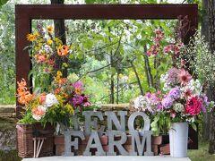 8月15日に上野ファームを訪れました。年間パスポートを利用し何回も訪れているのですが、秋まで季節ごとに咲く花の移り変わりを楽しめます。まず、楽しみにしているのはこの額縁状の生け花で多くのみなさんが撮影していく写真スポットです。エキナセア、テッポウユリ、フロックス、紫陽花等、そして何と野草のアワダチソウも加えて飾られています。