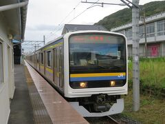 下り館山行き電車が入って来ました。 かつて京浜東北線で使われていた209系という電車です。