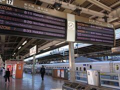 名古屋駅です。 贅沢して新幹線で京都まで。新幹線って久しぶりかも。 8:11発ののぞみ、指定席の乗車率は半分ほどな印象でした。