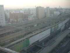 ホテル日航奈良から見た朝の奈良駅です。  今日は天気が良さそうです。