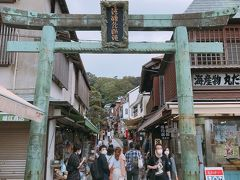 江ノ島の玄関口 ここから、入り登っていきます。 両側にお店が並んでます♪ 登り途中では階段で上がるかエスカレーター(有料)で登るか選べます!笑 私は課金してエスカレーターで、、⛰