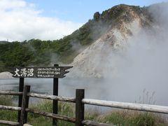 大湯沼。かなり温度も高いようです。10時半。  やっぱり温泉は、こういう火山性の温泉が硫黄分を多く含んで泉質も良いように思います。 草津・別府などがそうですね。