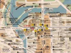 横浜・みなとみらいのマップの写真。  画像をクリックして拡大してご覧ください。  桜木町というよりも馬車道にいます。  横断歩道を渡り、『横浜北仲ノット』と書いてある場所へ 向かいます。