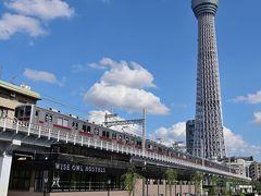 ●源森橋  そして最後にやってきたのが、スカイツリーと鉄道を一緒に眺めることができる「源森橋」です。 見ての通り、すぐそばに東武鉄道の高架線路があり、さっそく電車が走り抜けていきますね~。