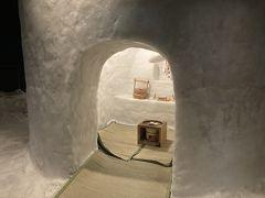 マイナス10度に保たれたかまくら室です。あまりにも寒すぎて1分いるのが限界です。