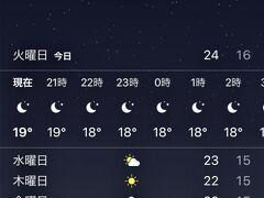 博多に着きまして東京は26度ありましたが 博多の夜は少し気温が下がり20度を下回っていました