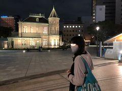 ライトアップしとても綺麗な旧福岡県公会堂貴賓館の建物