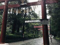 階段を登ったところに「三之鳥居」  この先は長い表参道になります。 参道の上には紅白の提灯が奉納されてあり、企業やお店の名前が書いてありました。初日に行った「寿司こうや」の提灯もありました(^-^)