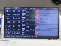 レンタカーを返して、宮崎空港まで送っていただきました。この日のANAの運行案内ボード。ほとんど欠航の中で、16:50の羽田行きは天候調査中になっていました。その後確認すると、予定通り飛んでました。まあ、欠航のおかげで、コスモスも見れたし、翌日に変えてよしとします。