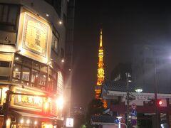 暗くなると東京タワーのイルミネーションが綺麗です。