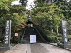 北鎌倉駅からすぐの所にある円覚寺。 総門前のもみじは、少し色づいていました。