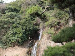 庭園なのに滝が流れる場所もありました。 西湖の石壁を流れる「桶樋滝(おけどいのだき)」は、藩主の鑑賞用として造られたなんと!!人工の滝です。 かつては紫雲山の中腹に置いた桶まで人力で水を汲み上げて、その水を樋から流していたことから、桶樋滝と呼ばれるようになりました。 贅の限りを尽くした滝でございます(*・ω・)