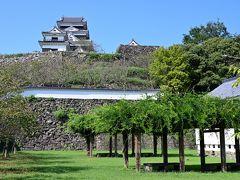 ●大洲城  旅の最終日で帰りの飛行機の時間が決まっていることもあり、何だかバタバタと移動していく感じになっちゃってますが、さらに松山自動車道を北上し、この旅最後の目的地である「大洲市」へとやってきました。  もちろんその目的は、あの石垣の上にチラッと見える「大洲城」です!
