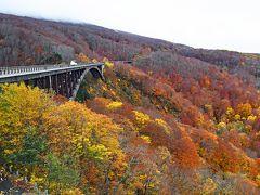 だんだん標高が上がって、落葉した木が目立つようになった。今日の目的地、城ヶ倉大橋が見えてきた。午後2時過ぎだ。標高約725mに位置するこの橋は紅葉観覧の名所である。当然、シーズンには大混雑のはずである。しかし、天候のせいか、コロナのせいか、がら空きだった。  ウェザーニューズの紅葉情報に城ヶ倉大橋は登場しない。しかし、少し上にある城ヶ倉温泉は落葉始まりとなっている。当然似たような状況だろうと思っていた。それでも、結構いい景色なので、勢い込んで外へ飛び出した。  小雨がパラパラ降っている。レンズに水滴が付いたりしたので、この写真と次の写真は、1時間半後に、もう一度立ち寄ったときに撮った。