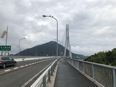 多々羅大橋は全長1480 m。吊橋の一種である斜張橋で中央支間長890 mは日本最大だそうです