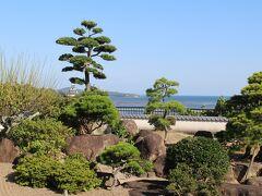 明治期の議員だった一松氏の邸宅跡からは松の木の下から杵築城を眺められる