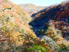 いろは坂途中の展望台から見た滝。 滝が二つあって、確かこちらが方等滝で、