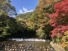 八瀬比叡山口駅近くの河原の紅葉。