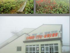10時少し前に、八甲田ロープウエー山麓駅着。 定員は101名と書かれていましたが、コロナ感染防止で半分以下の乗客で運行。  10:15発に乗り、濃霧の山頂公園駅へ。