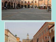 昨晩も通過した『ポポロ広場』です。  (写真上)広場西側    正面の建物は『市庁舎』で、左手に隣接するのは    1461年建造の『ヴェネツィア小宮殿』     ※ラヴェンナは1441年~1509年の間、ヴェネツィア共和国の    支配下にありました。  (写真下)広場東側    正面の時計塔もヴェネツィア支配下の1483年建造で    1785年に改修されています。