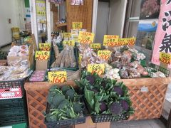 飯坂温泉駅構内には新鮮な野菜売り場(みよし青果)があります。珍しい紫色のブロッコリーやアスパラの葉っぱなど・・漬物もね、思わず買い込んで(宿で車に入れよう)  玉子40個ほどと野菜沢山、大荷物で宿のお迎え車を待ちました。 かわせみの客は駅に着いたらすぐにお迎え、が多いみたいですけど、駅から温泉街歩きしないともったいないなあ・・もう少し早い電車で到着した方がよかったかなあ・・です。楽しい面白い飯坂温泉、好きになりました。