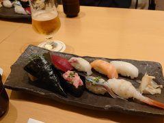 そして、クーポンの残り半分は名古屋に戻ってから お寿司とビール  楽しくておいしい旅でした