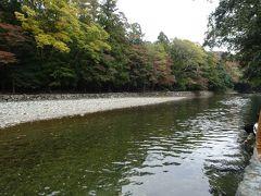 五十鈴川の御手洗場でお清めしました。川のそばまで行ったのは初めてです(参道脇ので済ませちゃう派)。街なかの川なのに水が澄んでいる。  対岸の木々は一部だけ葉が黄色くなってました。紅葉が始まったらすごくきれいだろうなあ。