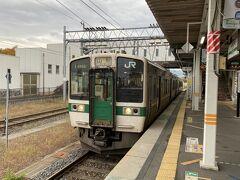 米沢始発の普通列車でかみのやま温泉に向かいます。