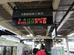 現在、13時47分です。新潟県の新津駅です。快速あがのは、新津駅で運転中止となりました。