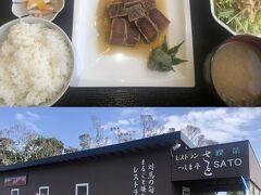 ランチは万関橋そばの「つしま亭さと」にて、トロの華サイコロステーキ定食。