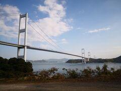 最初にサンライズ糸山ってところへ。 今治から大島を結ぶ橋のふもとにある。 すごいなー橋。