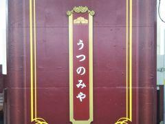 令和2年10月末。平日の午前。これから日帰りで日光へ観光に出かける。 宇都宮駅の日光線のプラットフォーム。えんじ(赤紫?)色の太い柱が目立っている。