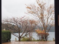 芦ノ湖まで下ってきて、箱根細工屋さんでお土産を探して、芦ノ湖テラスという湖が見える席でお茶をしながら一休み。