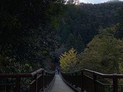 石舟橋が現れます! 天気はとっても良いんですけど、ここは渓谷で山に囲まれているので、太陽がまだ山に隠れていて少し暗いです。