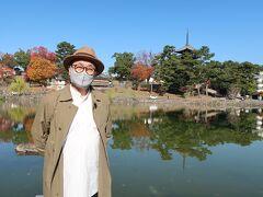お腹も満たされたので観光に行きましょう! まずは、おか田さん近くの猿沢池へ。  興福寺の五重塔が水面に映ってきれいです。