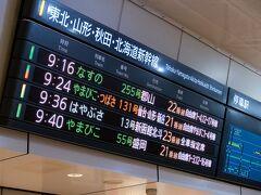 東京駅。 東北新幹線 9:36発 はやぶさ13号で新青森に向かいます。 もっと早い時間の列車にすれば時間を有効に使えると思いますが、これでも私たちとしては頑張って早起きしたのです。
