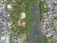 別所沼は、南北に長い沼です。  噴水が2ヶ所に見えます。  埼京線の東側です。