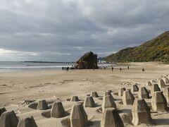 それでも、稲佐の浜に着いた頃には日射しが。よかった!