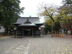 撮り鉄タイムをいったん終えて、弥栄神社を参拝。静かな境内の地面にはイチョウの黄色い落ち葉が。秋です。