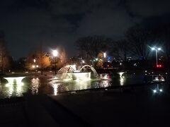夜の公園を通って帰ります。噴水とイルミネーションが美しいです。