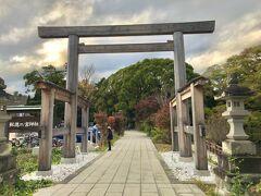 Q4の報徳二宮神社へ到着。  この大鳥居は近くの辻村山林から切り出された樹齢300年の大杉。では、この杉を植えたのは?