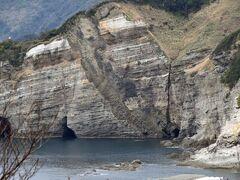 妻良港の北側のがけに見られる【竜崎の蛇下り】  火山性噴出物の堆積層にしたからマグマが貫入してできた地形